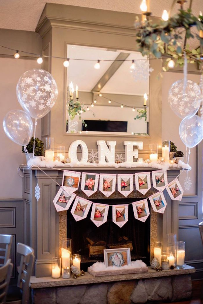 Kara 39 s party ideas winter onederland first birthday party for Room decor ideas for birthday