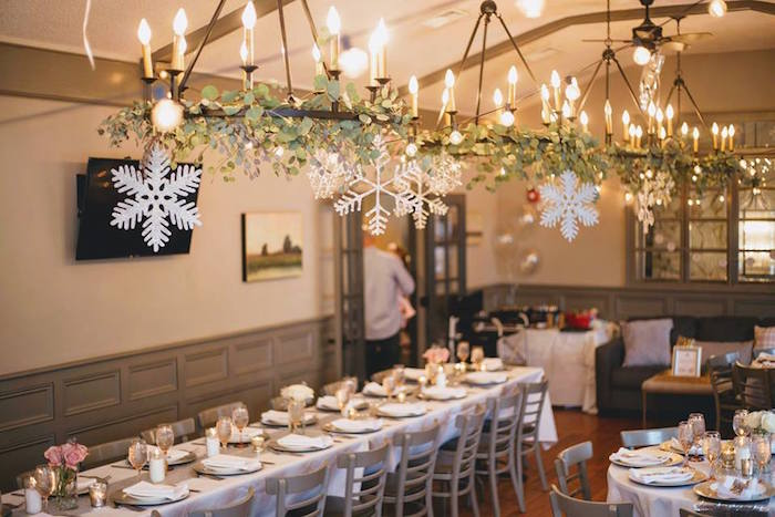 Overhead chandelier + bunting from a Winter ONEderland First Birthday Party on Kara's Party Ideas | KarasPartyIdeas.com (35)