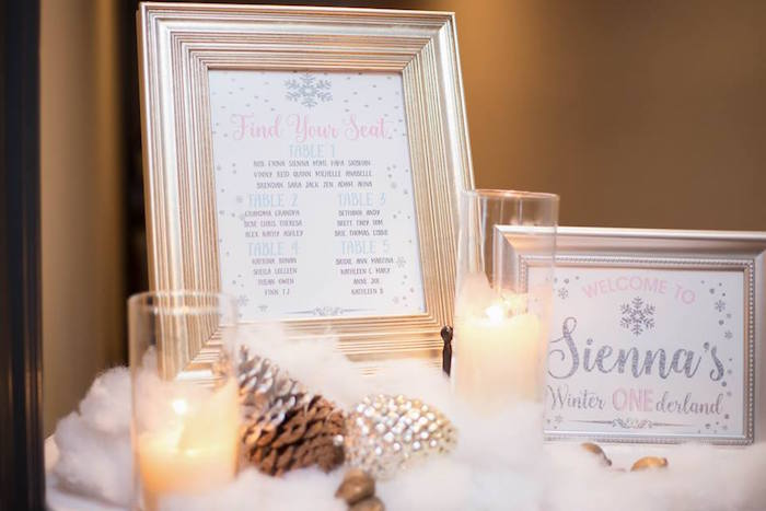 Printed seating chart from a Winter ONEderland First Birthday Party on Kara's Party Ideas | KarasPartyIdeas.com (33)