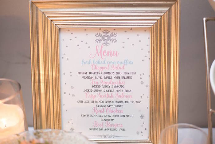 Printed menu from a Winter ONEderland First Birthday Party on Kara's Party Ideas | KarasPartyIdeas.com (31)
