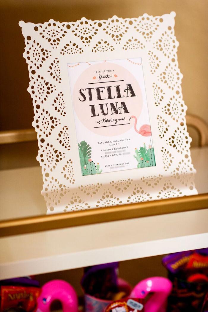 Invitation from a Cactus & Flamingo First Birthday Fiesta on Kara's Party Ideas | KarasPartyIdeas.com