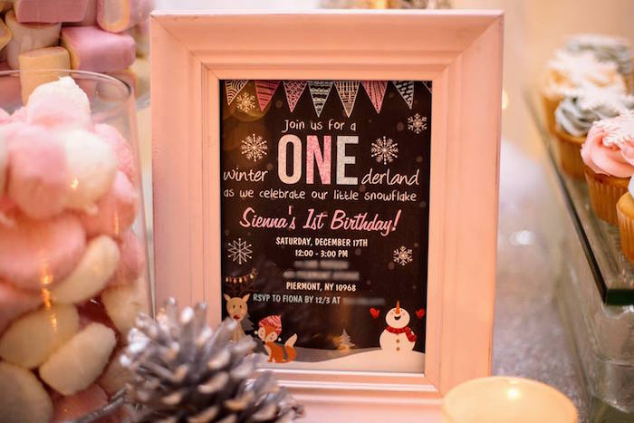 Invitation from a Winter ONEderland First Birthday Party on Kara's Party Ideas | KarasPartyIdeas.com