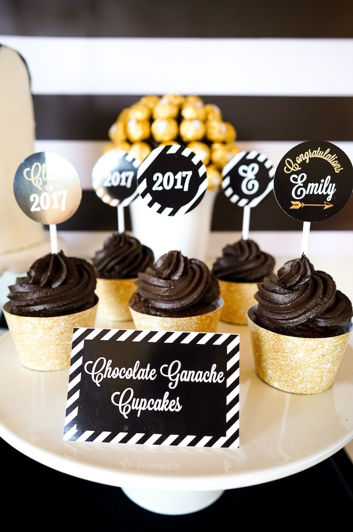 "Chocolate Ganache Cupcakes from a ""Be Bold"" Black & Gold Graduation Party on Kara's Party Ideas 
