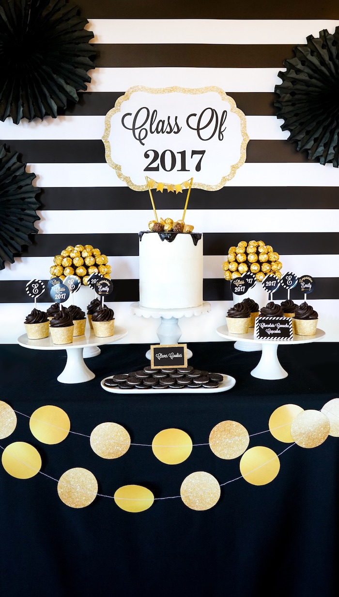 Kara 39 s party ideas be bold black gold graduation party for Gold party
