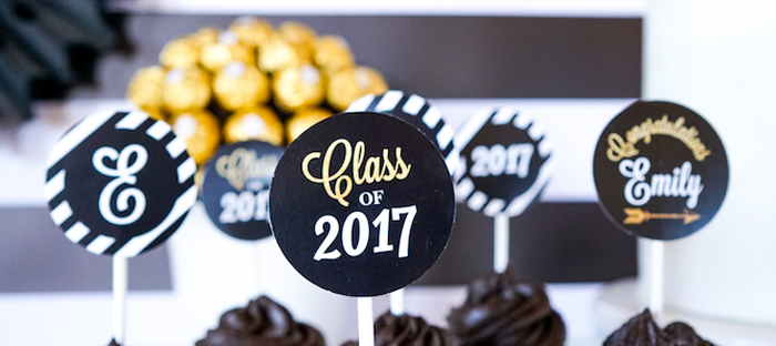 """Be Bold"" Black & Gold Graduation Party on Kara's Party Ideas 