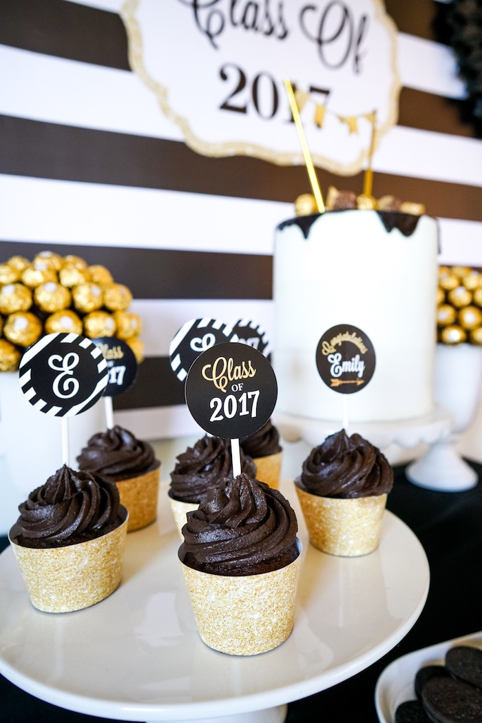 "Cupcakes from a ""Be Bold"" Black & Gold Graduation Party on Kara's Party Ideas 