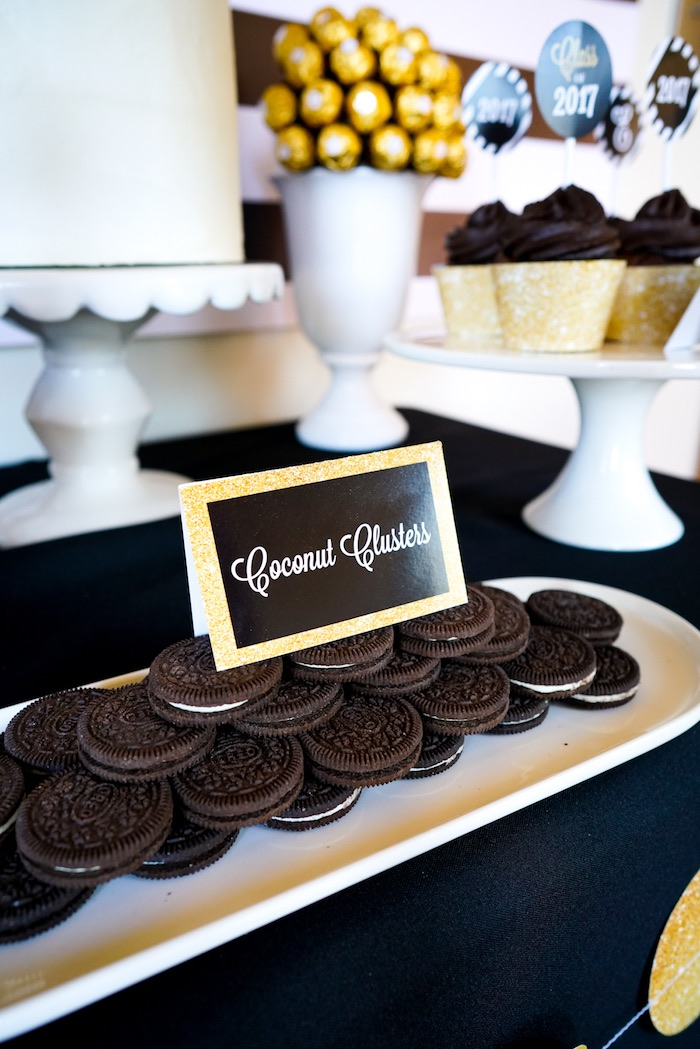 "Oreo Cookies from a ""Be Bold"" Black & Gold Graduation Party on Kara's Party Ideas 