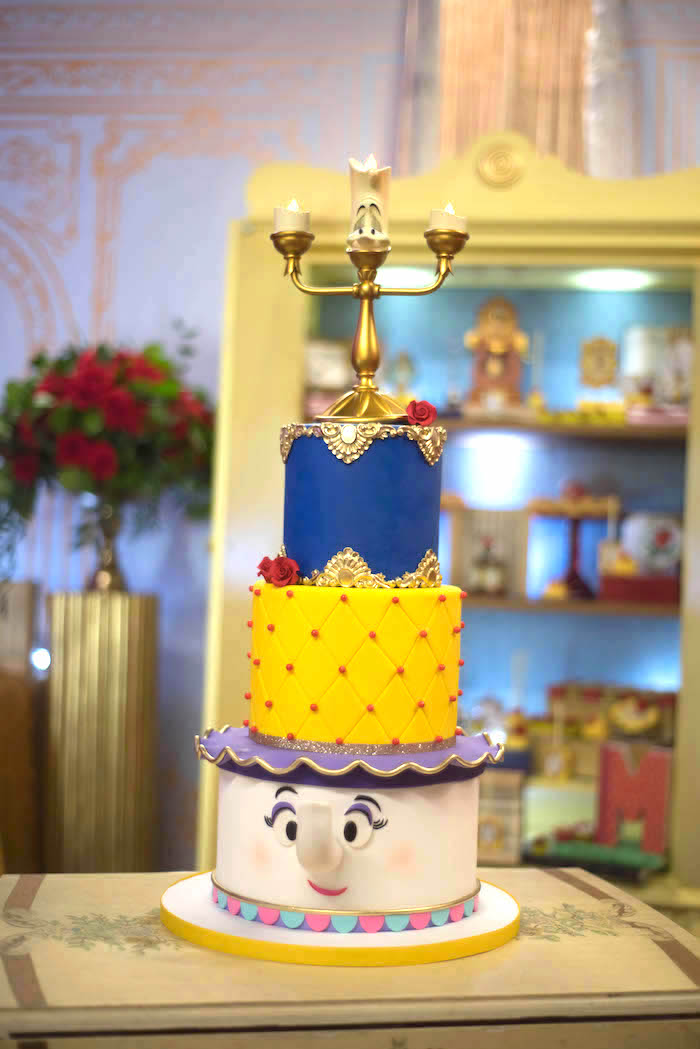 "Beauty and the Beast Cake from a ""Be Our Guest"" Beauty and the Beast Birthday Party on Kara's Party Ideas 