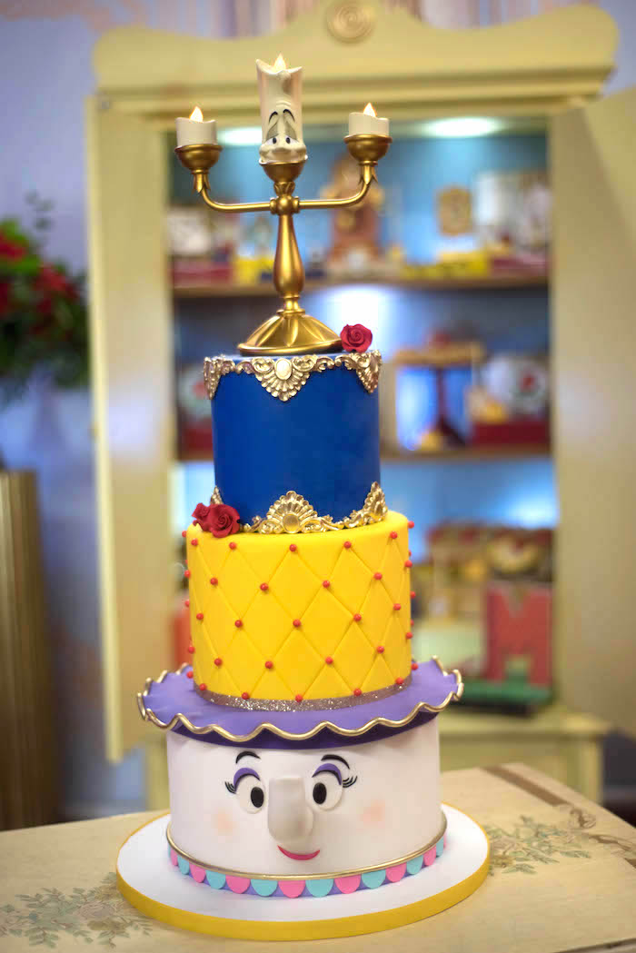 Karas Party Ideas Beauty and the Beast Cake from a Be Our Guest