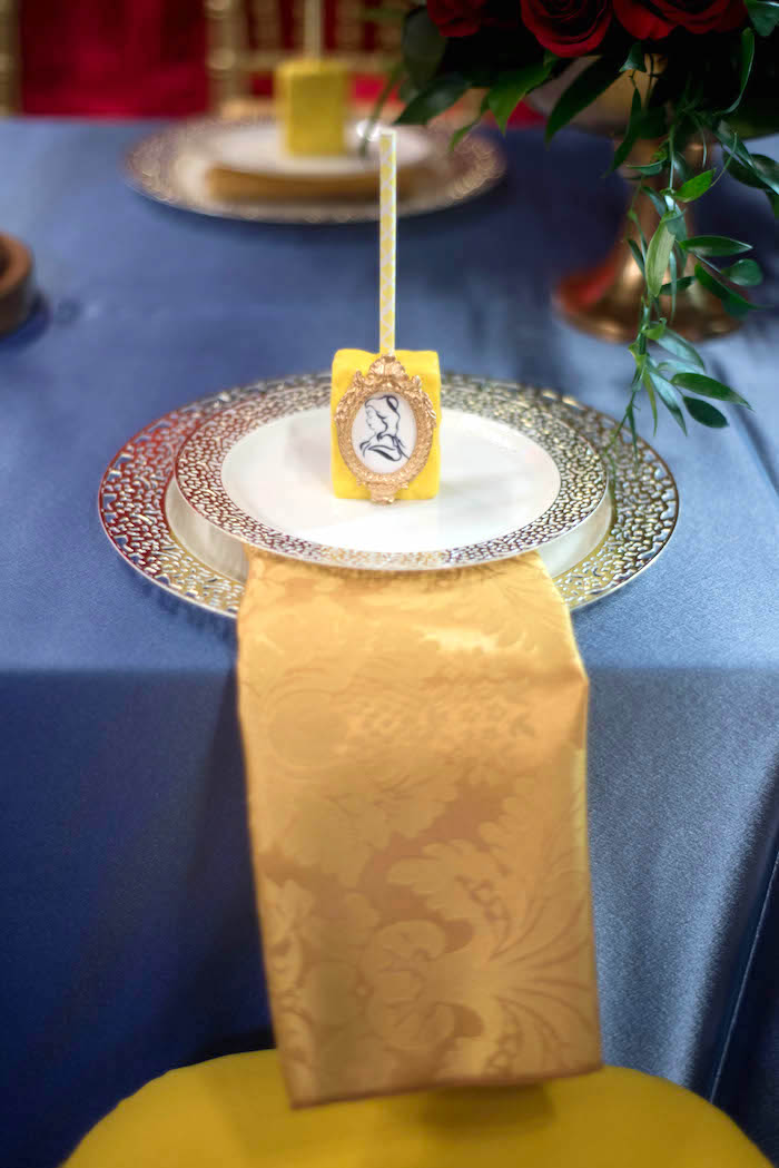 "Place setting from an ""Be Our Guest"" Beauty and the Beast Birthday Party on Kara's Party Ideas 