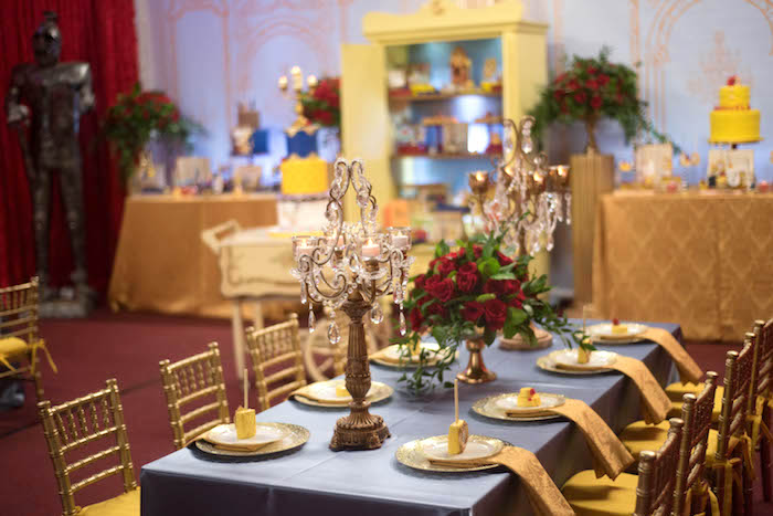 "Dining tablescape from a ""Be Our Guest"" Beauty and the Beast Birthday Party on Kara's Party Ideas 