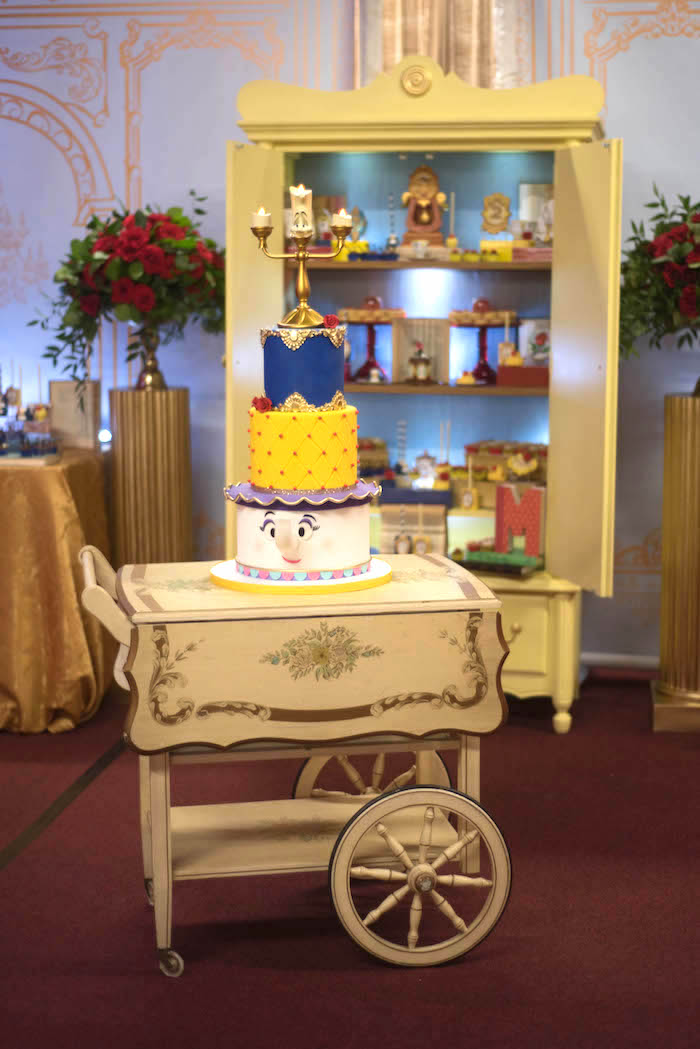 "Cake cart from a ""Be Our Guest"" Beauty and the Beast Birthday Party on Kara's Party Ideas 