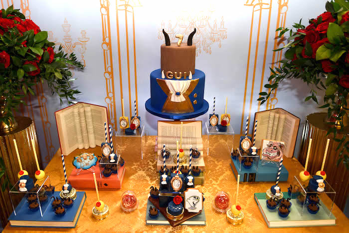 "Beast dessert table from a ""Be Our Guest"" Beauty and the Beast Birthday Party on Kara's Party Ideas 