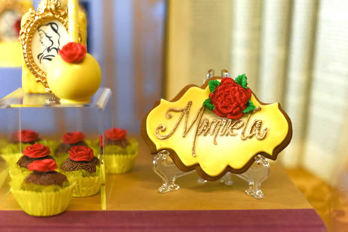 "Belle-inspired sweets from a ""Be Our Guest"" Beauty and the Beast Birthday Party on Kara's Party Ideas 