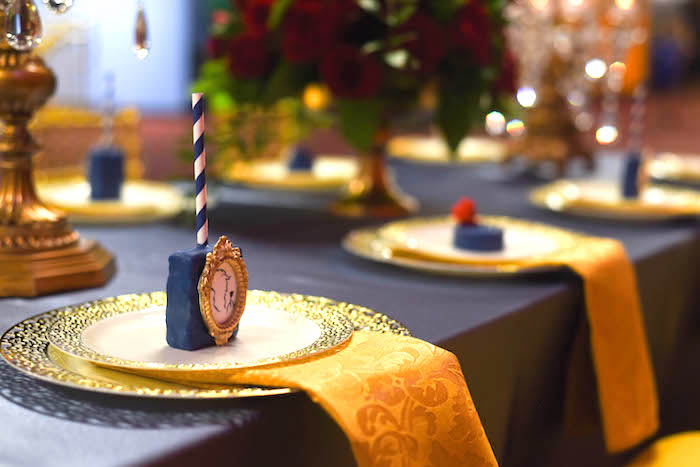 "Place setting + tablescape from a ""Be Our Guest"" Beauty and the Beast Birthday Party on Kara's Party Ideas 