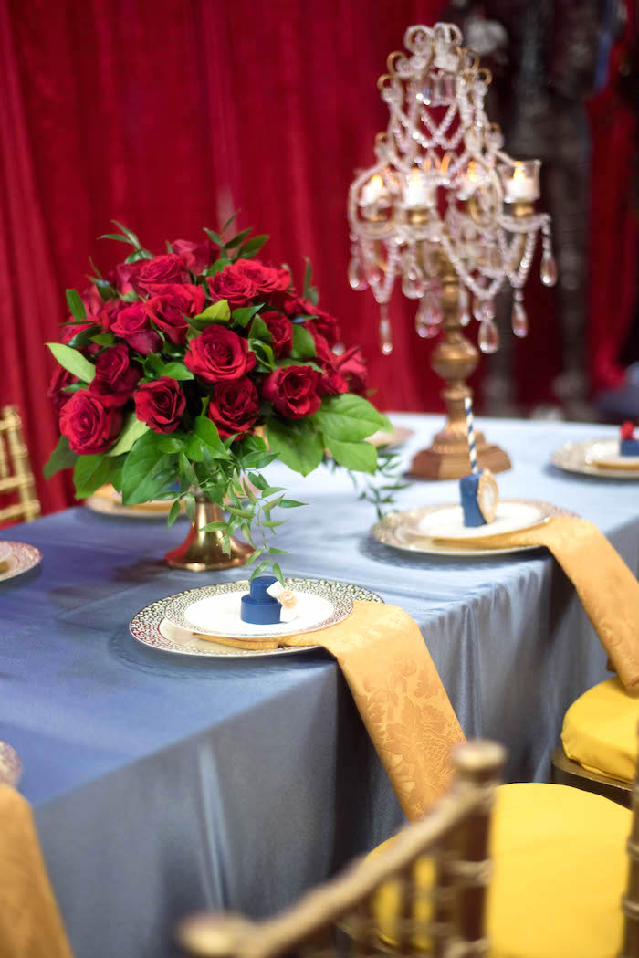 "Banquet table from a ""Be Our Guest"" Beauty and the Beast Birthday Party on Kara's Party Ideas 