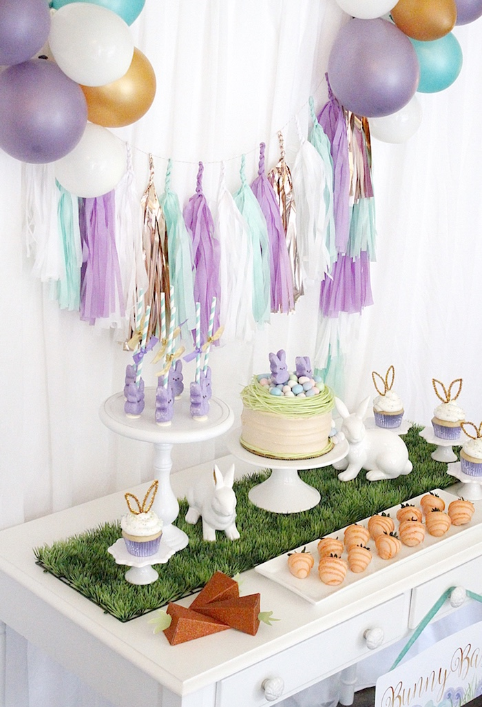 "Sweet tabletop from a ""Bunny Bash"" Easter Party for Kids on Kara's Party Ideas 