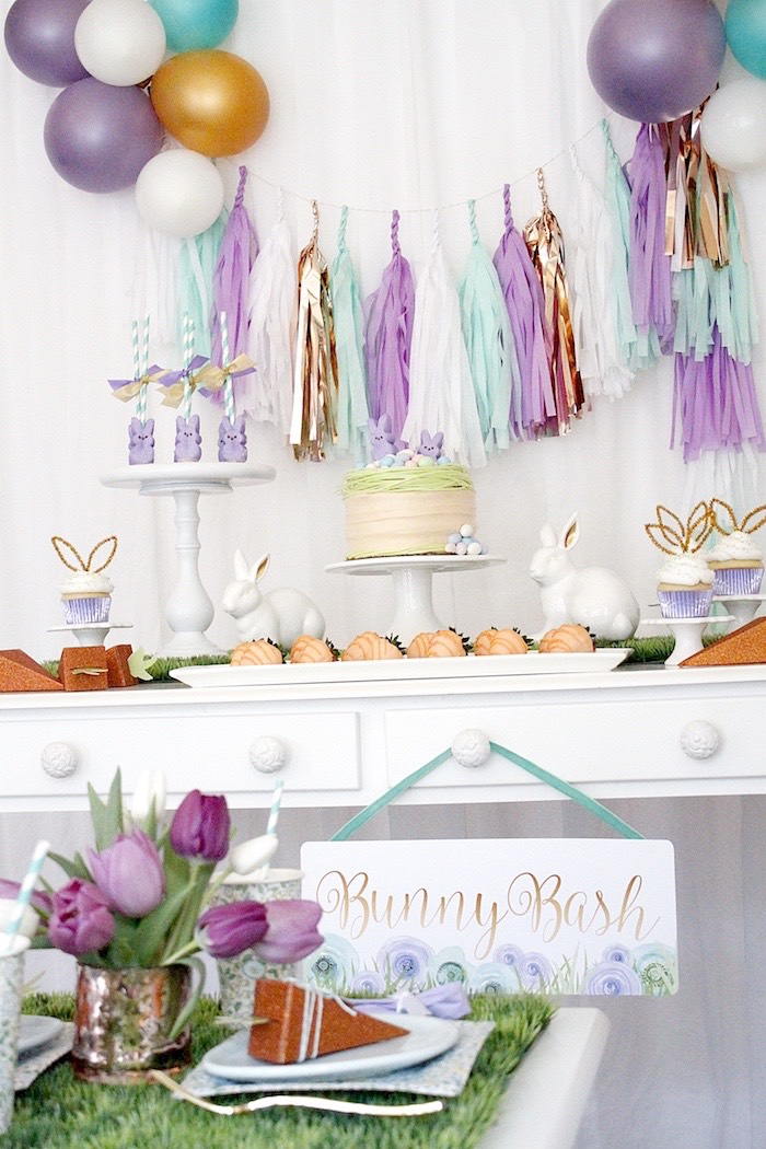 "Party tables from a ""Bunny Bash"" Easter Party for Kids on Kara's Party Ideas 
