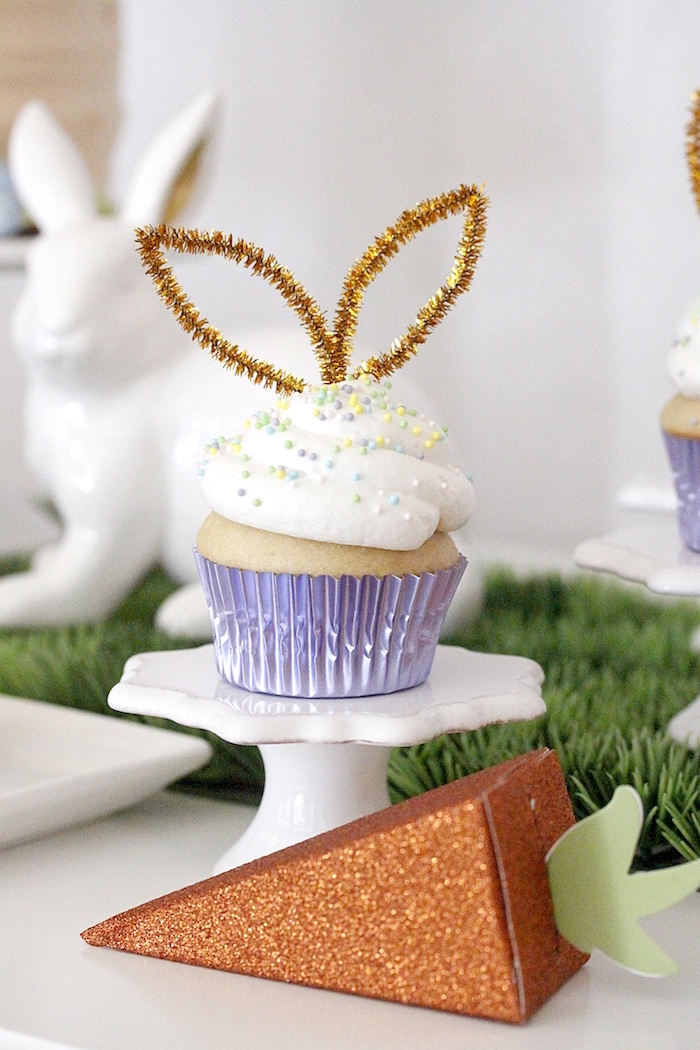 "Bunny-eared cupcake from a ""Bunny Bash"" Easter Party for Kids on Kara's Party Ideas 