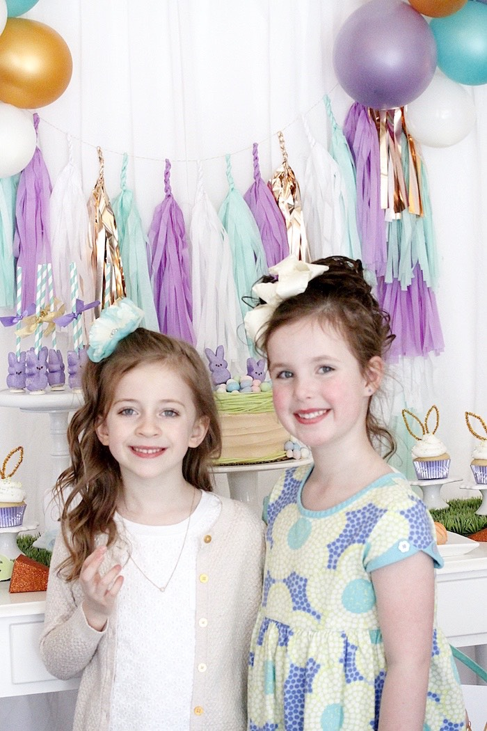 "Little girls from a ""Bunny Bash"" Easter Party for Kids on Kara's Party Ideas 