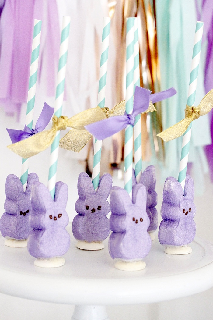 "Peep Bunny Pops from a ""Bunny Bash"" Easter Party for Kids on Kara's Party Ideas 