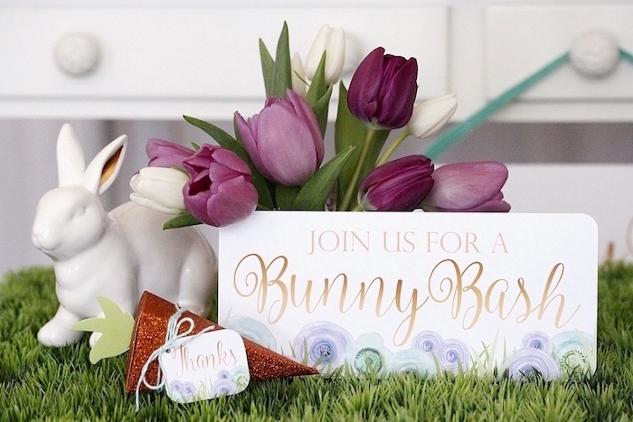 """Porcelain bunny and flowers from a """"Bunny Bash"""" Easter Party for Kids on Kara's Party Ideas   KarasPartyIdeas.com (13)"""