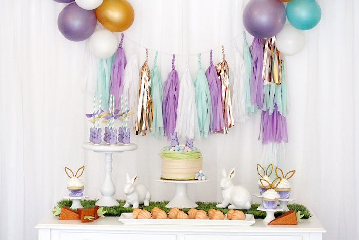 "Dessert table from a ""Bunny Bash"" Easter Party for Kids on Kara's Party Ideas 