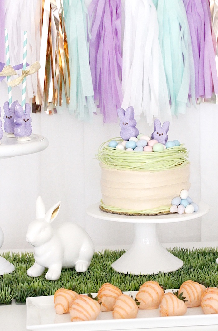 "Bunny cakescape from a ""Bunny Bash"" Easter Party for Kids on Kara's Party Ideas 