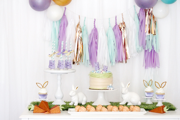 "Dessert spread from a ""Bunny Bash"" Easter Party for Kids on Kara's Party Ideas 