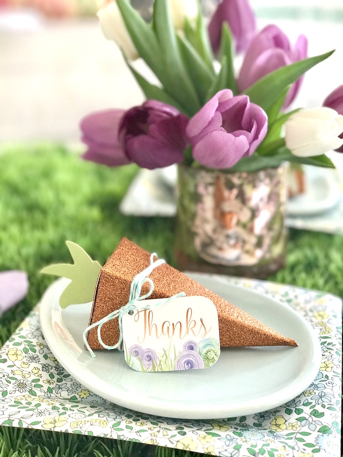 "Place setting from a ""Bunny Bash"" Easter Party for Kids on Kara's Party Ideas 