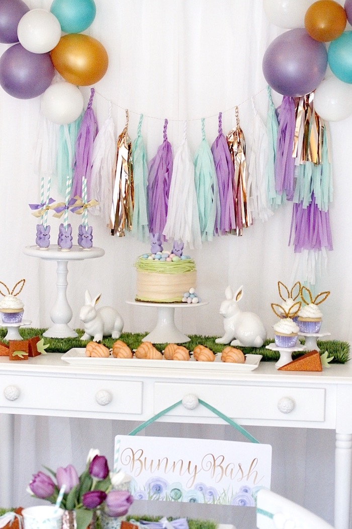 "Sweet table from a ""Bunny Bash"" Easter Party for Kids on Kara's Party Ideas 