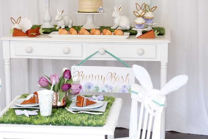 "Guest table from a ""Bunny Bash"" Easter Party for Kids on Kara's Party Ideas 