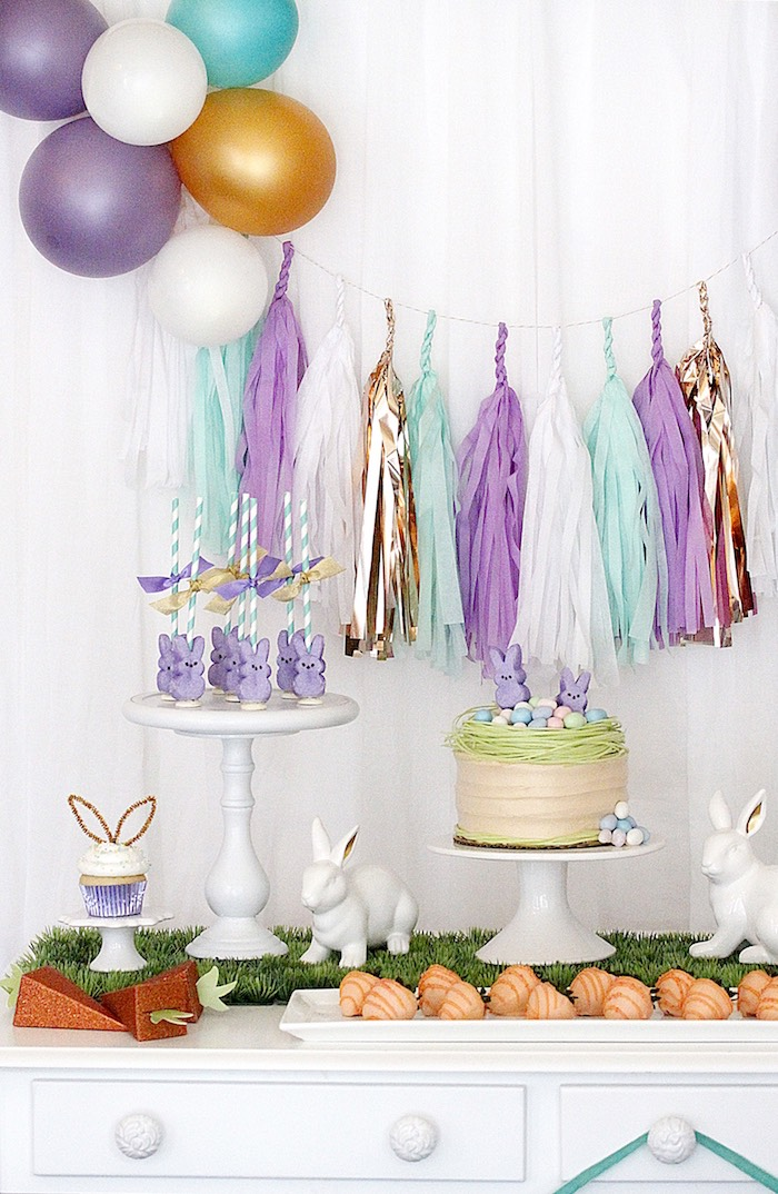 "Dessert table detail from a ""Bunny Bash"" Easter Party for Kids on Kara's Party Ideas 