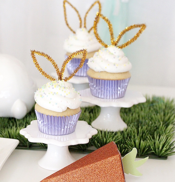 "Bunny-eared cupcakes from a ""Bunny Bash"" Easter Party for Kids on Kara's Party Ideas 