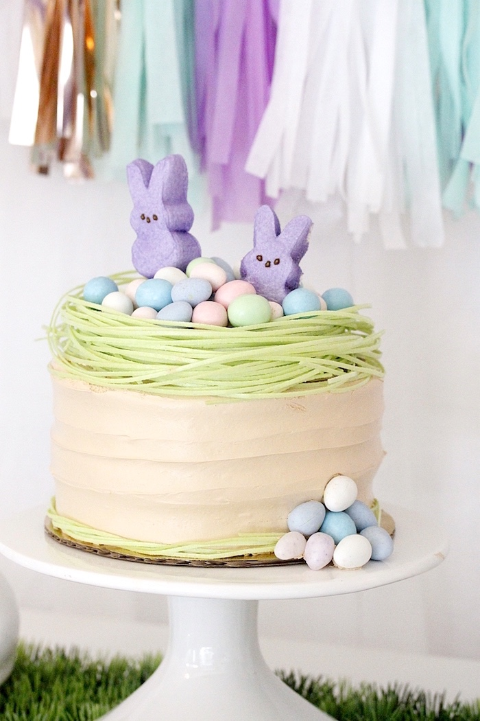 "Bunny themed cake from a ""Bunny Bash"" Easter Party for Kids on Kara's Party Ideas 