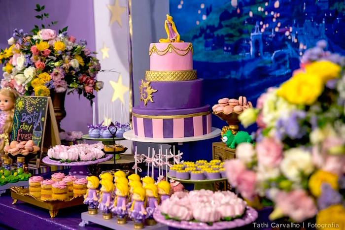 """Cakescape + dessert table from a """"Floating Lanterns Gleam"""" Tangled Birthday Party on Kara's Party Ideas   KarasPartyIdeas.com (19)"""