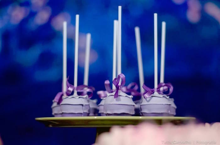 """Purple ruffle pops from a """"Floating Lanterns Gleam"""" Tangled Birthday Party on Kara's Party Ideas   KarasPartyIdeas.com (17)"""