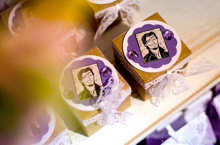 """Flynn Rider favor boxes from a """"Floating Lanterns Gleam"""" Tangled Birthday Party on Kara's Party Ideas   KarasPartyIdeas.com (16)"""