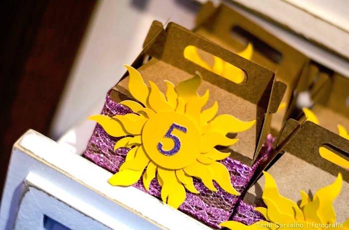 "Sunburst gable favor boxes from a ""Floating Lanterns Gleam"" Tangled Birthday Party on Kara's Party Ideas   KarasPartyIdeas.com (27)"