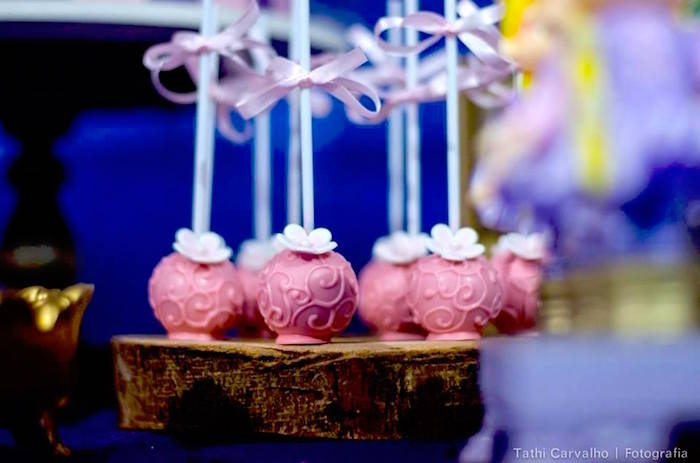 """Cake pops from a """"Floating Lanterns Gleam"""" Tangled Birthday Party on Kara's Party Ideas   KarasPartyIdeas.com (25)"""