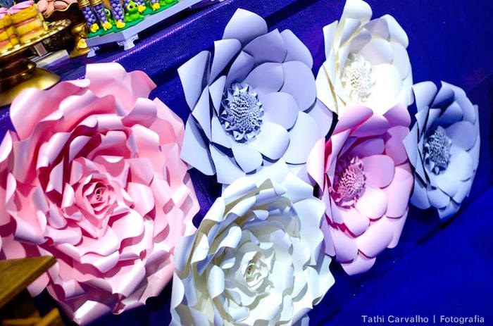 """Paper flowers from a """"Floating Lanterns Gleam"""" Tangled Birthday Party on Kara's Party Ideas   KarasPartyIdeas.com (24)"""