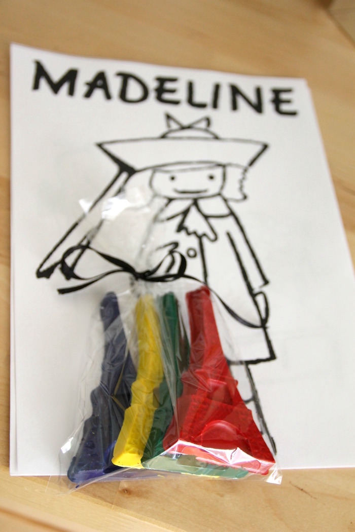"Madeline coloring page with Eiffel Tower crayons from a ""Madeline in Paris"" Birthday Party on Kara's Party Ideas 
