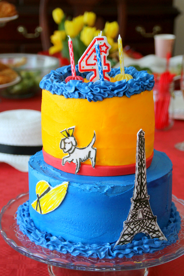 "Madeline cake from a ""Madeline in Paris"" Birthday Party on Kara's Party Ideas 