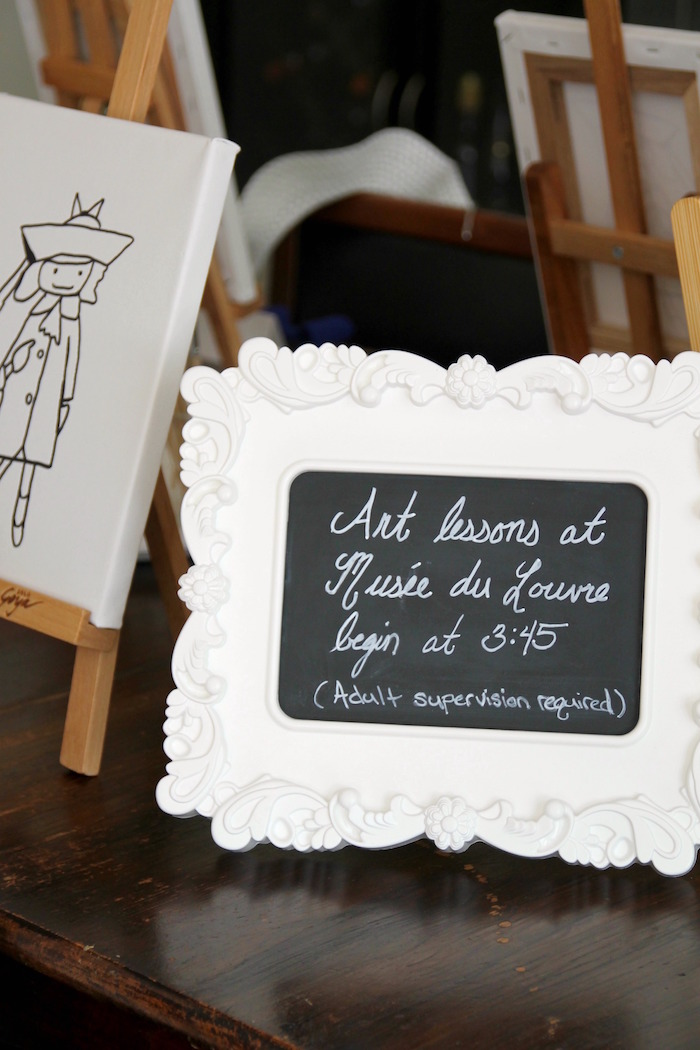 "Chalkboard sign from a ""Madeline in Paris"" Birthday Party on Kara's Party Ideas 