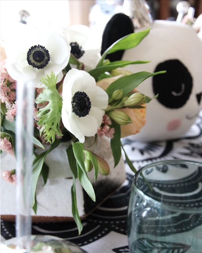 "Black and white blooms from a ""Pandamonium"" Panda Disco Birthday Party on Kara's Party Ideas 