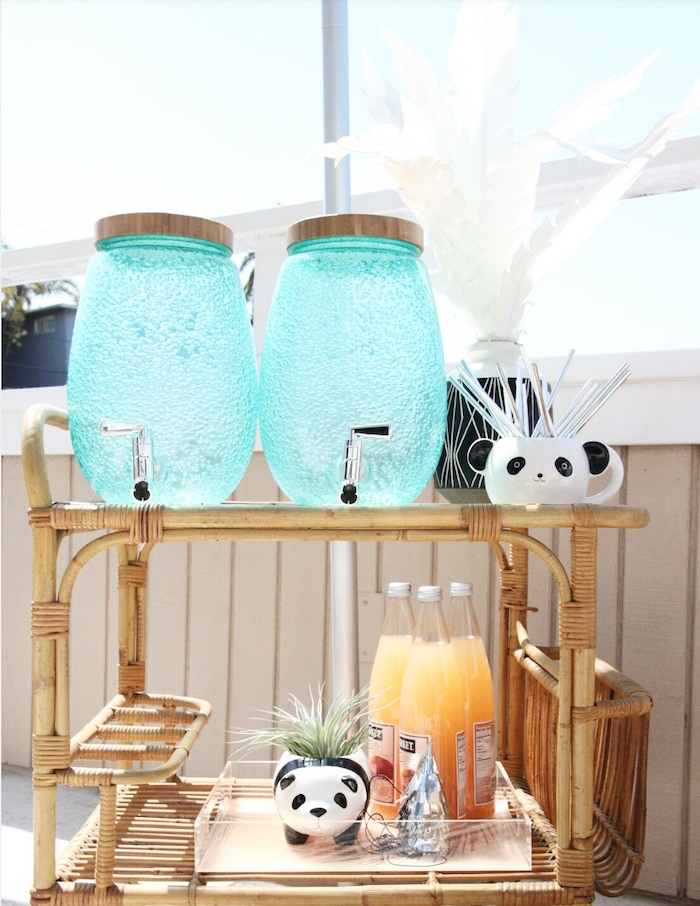 "Beverage cart from a ""Pandamonium"" Panda Disco Birthday Party on Kara's Party Ideas 