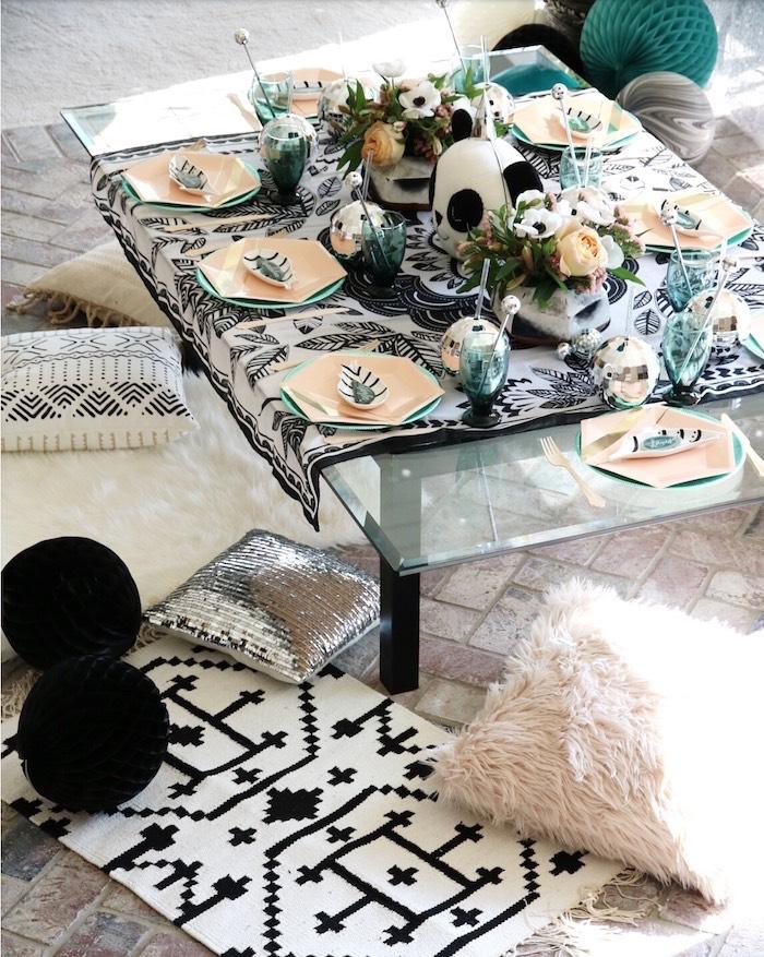 "Lounge guest table from a ""Pandamonium"" Panda Disco Birthday Party on Kara's Party Ideas   KarasPartyIdeas.com (6)"
