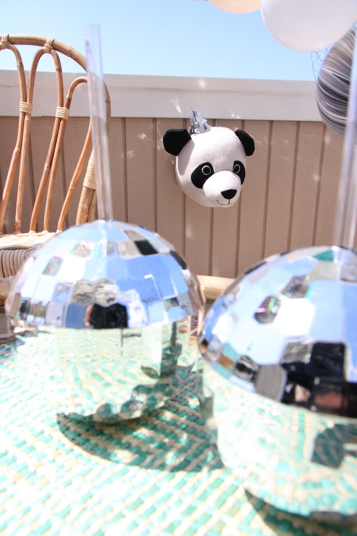 "Disco balls from a ""Pandamonium"" Panda Disco Birthday Party on Kara's Party Ideas 