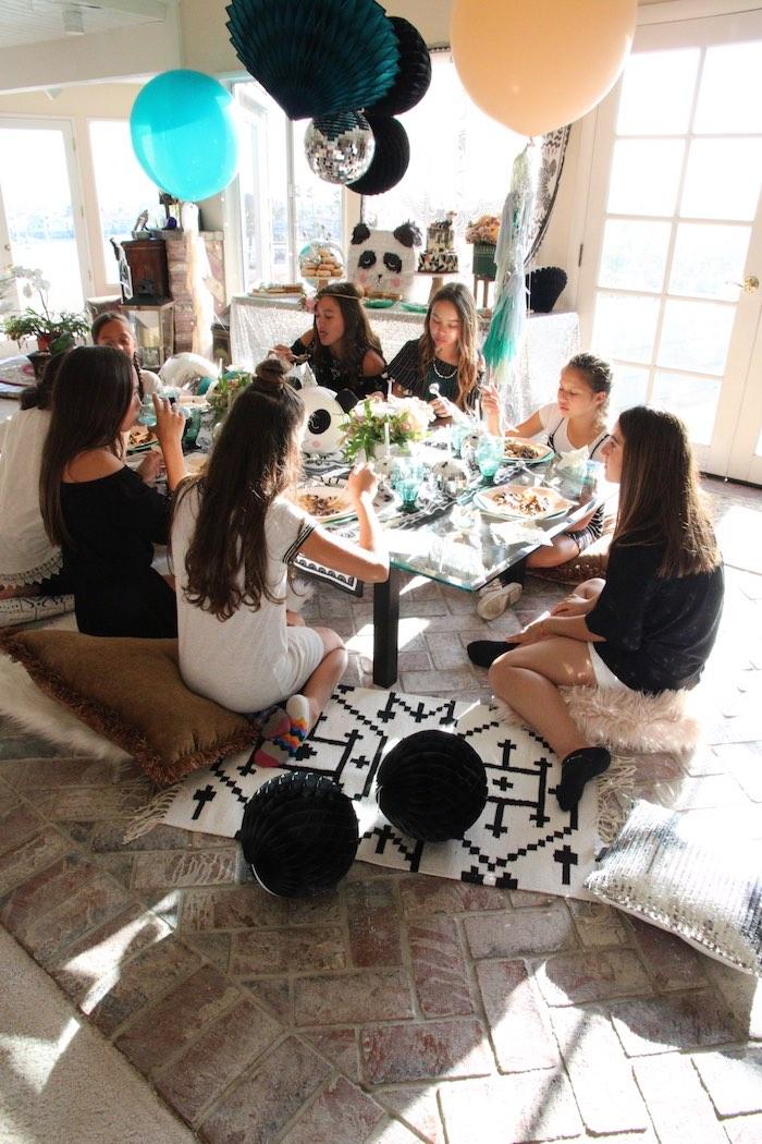 "Guest table from a ""Pandamonium"" Panda Disco Birthday Party on Kara's Party Ideas   KarasPartyIdeas.com (17)"