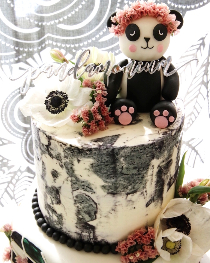 "Panda Bear Cake from a ""Pandamonium"" Panda Disco Birthday Party on Kara's Party Ideas 